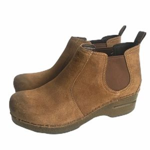 Dansko Booties Suede Brown Boots Clogs Distressed
